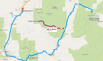 Map to Cedar City
