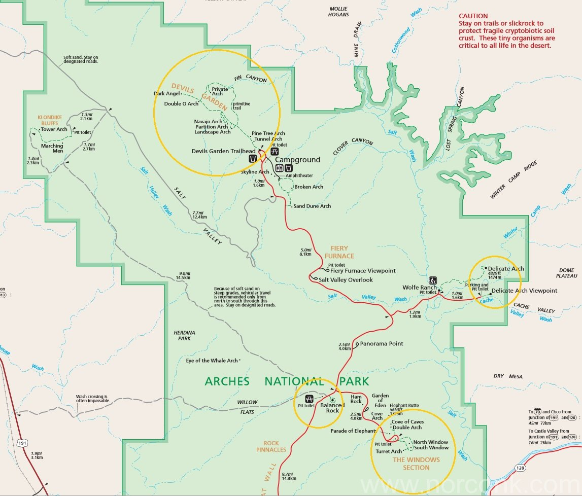 West Trip Day 6 – Arches National Park – The Norconk Arches National Park Trail Map on